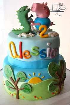 Peppa Pig Cake Ideas - George & Dinosaur Cake Birthday Party Cake, Peppa Pig, George Pig, Daddy Pig, Mummy Pig, Peppa House, Muddy Puddle, Red Car, Dinosaur