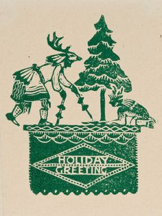Gustave Baumann woodcut, 1921, featuring a Pueblo Indian deer dancer for the holiday theme. (Courtesy of the Museum of New Mexico Press)