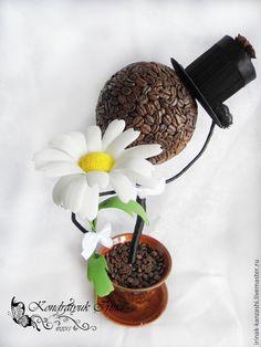 """Купить Кофейное дерево """"Джентльмен"""" - коричневый, белый, желтый, черный, кофейное дерево, кофейные зерна"""