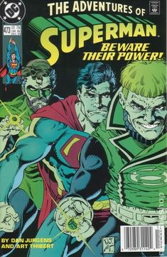 Adventures of Superman (1987) 473 dc comics covers guy gardner hal jordan green lanterns