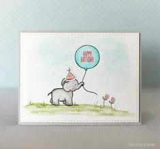 bastelideen für erwachsene geburtstag, elefant zeichnen, rosa blumen, blauer luftballon, zeichnung
