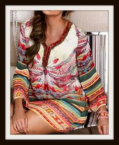 WILDFLOWER DRESS Beautiful Bright Color Feathers on White Lined Long Sleeve Tunic Top / Mini Dress