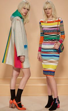 rainbow coat & dress - why no smiles? Missoni PreFall 2016