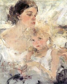 Nicolai Fechin  Portrait of his wife and daughter