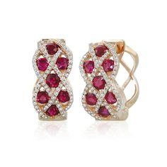 Effy® 14K Rose Gold Ruby and Diamond Earring