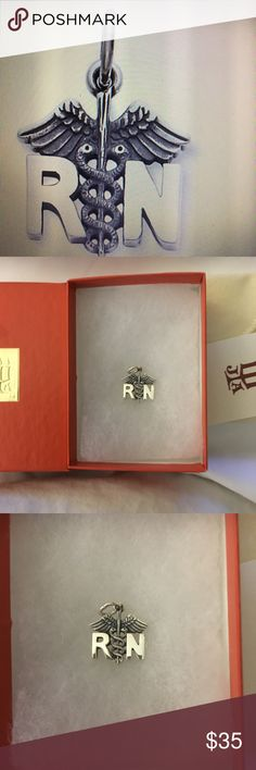 """James Avery  """"RN"""" Charm. RN's are caregivers and healers. They are dedicated and nurturers and take of the sick when they are in need This sterling silver RN charm is 9/16"""" long. James Avery Jewelry"""