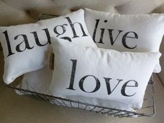 Home and Living Decor and Housewares Decorative Pillows Love Live Laugh Words to Live By Set of Three- Made to Order. $48.00, via Etsy.