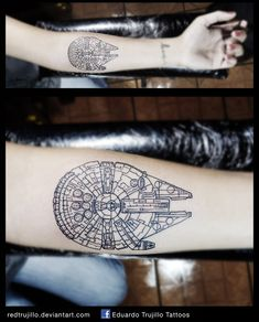 Millennium falcon blue print tattoo by redtrujillo.deviantart.com on @DeviantArt
