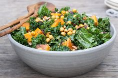 Butternut & Kale Salad with Maple Roasted Chickpea Croutons