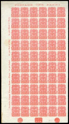 NEW SOUTH WALES - 1899 Chalk-Surfaced Paper Arms 1d rose-carmine left-hand pane of 60 (6x10) completely Imperforate SG 301a with… / MAD on Collections - Browse and find over 10,000 categories of collectables from around the world - antiques, stamps, coins, memorabilia, art, bottles, jewellery, furniture, medals, toys and more at madoncollections.com. Free to view - Free to Register - Visit today. #Stamps #MADonCollections #MADonC S Monogram, South Wales, Bottles, Mad, Stamps, Coins, Arms, Auction, Plate