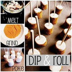 Smore pops...another idea...marshmallow in fondue then dipped into crushed grahams