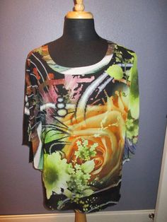 Chico's Multi-colored Batwing Blouse Size XL #Chicos #Blouse #Casual