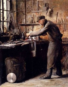 The Carpenter, Frans Mortelmans. Belgian - - Oil on Panel - I suspect that this is not a carpenter but a metal worker. no saw dust and a black leather apron. Antique Tools, Old Tools, Woodworking Images, Oil Painting Reproductions, Woodworking Workshop, Art Plastique, Blacksmithing, Carpenter, Cool Art
