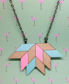 Geometric blue pink pastel lotus lasercut wood necklace with gunmetal black chain