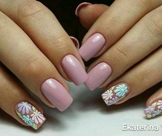 43 Unique Spring And Summer Nails Color Ideas That You Must Try 131 Toe Nails, Pink Nails, Floral Nail Art, Pretty Nail Art, Fabulous Nails, Flower Nails, Creative Nails, Trendy Nails, Nail Arts