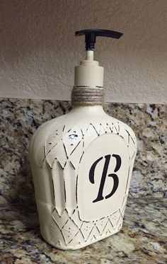 Monogram Crown Royal Bottle soap dispenser Available on Etsy shop my store Royaltyinabottle ***Customize your own*** (Liquor Bottle Art) Liquor Bottle Crafts, Wine Bottle Art, Diy Bottle, Liquor Bottle Lights, Patron Bottle Crafts, Empty Liquor Bottles, Bottle Lamps, Upcycled Crafts, Diy Crafts