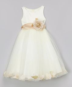 Look what I found on #zulily! Ivory & Champagne Petal Tulle Dress - Toddler & Girls #zulilyfinds