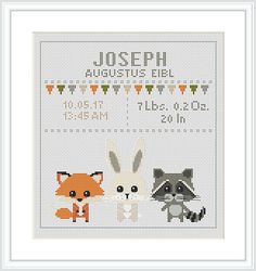 Baby Cross Stitch Pattern fox rabbit racoon Birth sampler