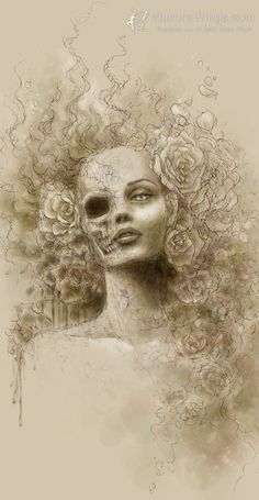 Dark and Macabre Skull Face Beauty Fantasy Art by AuroraWings, $14.95