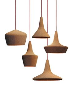 Buy Cork Products with amazing design in our online store. It´s a shift for cork. Cool Lighting, Modern Lighting, Lighting Design, Pendant Lamp, Pendant Lighting, Light Pendant, Suspension Design, Luminaire Design, Wooden Lamp