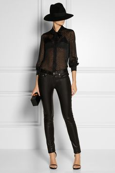 Saint Laurent|Leather bra top|NET-A-PORTER.COM