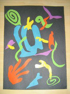 Matisse Art Project Example for Kindergarten Henri Matisse, Matisse Kunst, Matisse Art, Matisse Cutouts, Kindergarten Art Lessons, 3rd Grade Art, Grade 2, Second Grade, School Art Projects