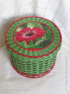 Поделка изделие Плетение Первые шкатулки нового года Трубочки бумажные фото 3