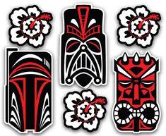 Tiki Star Wars Sticker Set - Dark Side Inspired Vinyl Decals Boba Fett Darth Vader Maul Luau Mug Empire Hibiscus by OMSP