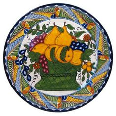 "Talavera plates can be used for dining as well as decoration accents. The plate ""Dolores"" made of ceramic is available in two sizes. by Rustica House #myRustica"