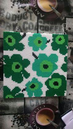 Marimekko design hama perler beads Hama Beads Design, Hama Beads Patterns, Beading Patterns, Floral Patterns, Textile Patterns, Pearler Beads, Fuse Beads, Hama Beads Coasters, 8bit Art