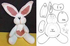 Moldes Para Artesanato em Tecido: Coelhinho da Pascoa com molde