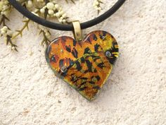 Glass Jewelry Golden Copper Heart Necklace Dichroic by ccvalenzo