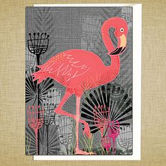 Flamingo Greetings Card by Rocket 68 Pink Bird, White Envelopes, Pretty In Pink, Thank You Cards, Flamingo, Personalized Gifts, Birthday Cards, Backdrops, Unique Gifts