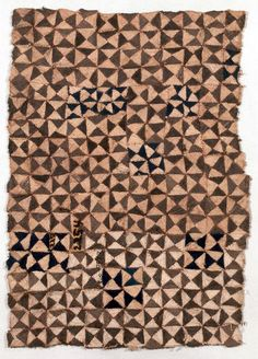 Africa | Bark cloth from the Kuba people of Lukengu, Congo (Belgian Congo) | Bark, plant fiber, dye | ca. 1910