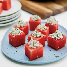 Watermelon cups with feta and mint. Yes please🙋🏼