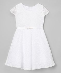 Look what I found on #zulily! White Lace A-Line Dress - Girls #zulilyfinds