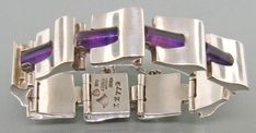 Antonio Pineda Taxco 1950s Modernist 970 Silver Bracelet with amethyst cylinders