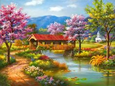 Covered bridge - alleys, beautiful, blooming, blossoms, bridge, cabin, calm, calmness, church, clouds, colorful, cottage, countryside, covered, creek, flowers, garden, house, lake, lovely, mountain, nice, painting, path, peaceful, pretty, reflection, river, riverbank, shore, sky, stream, trees, village