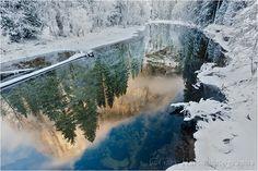 Winter Reflection, El Capitan in the Merced River,  Yosemite
