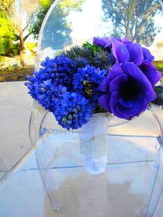 Blue Hyacinth and Anemones  wedding flower bouquet, bridal bouquet, wedding flowers, add pic source on comment and we will update it. www.myfloweraffair.com can create this beautiful wedding flower look.