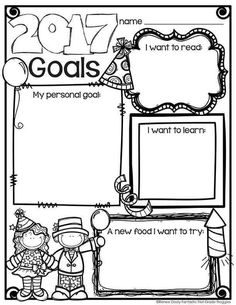 New Years activities: FREE New Year goals graphic organizer worksheet. New Years Activities, Writing Activities, Classroom Activities, Teaching Resources, Holiday Activities, Classroom Ideas, Holiday Classrooms, Preschool Bulletin, Teaching Ideas