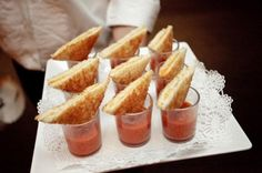 Weddbook ♥ mini grilled cheese sandwiches with tomato soup shots. Wedding cocktail party appetizer ideas. appetizer