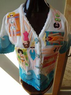 Michael Simon Embroidered RARE Women Beaded Bathing Suit Sweater Cardigan SZ S