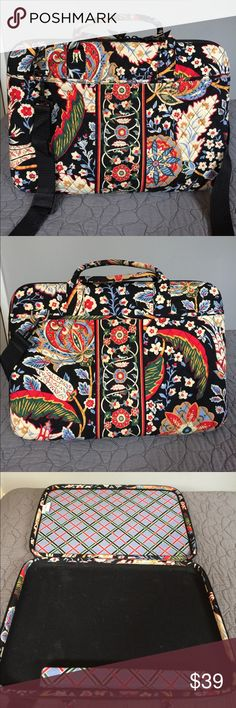 Vera Bradley Laptop Bag Great Vera Bradley laptop bag with removable shoulder strap. This bag is padded laptop bag has a pocket on each side of its exterior to carry your cables and other accessories.  The detachable strap is not the original one, I lost that and bought a replacement.  Good pre-loved condition with only minor marks inside as shown. Vera Bradley Bags Laptop Bags