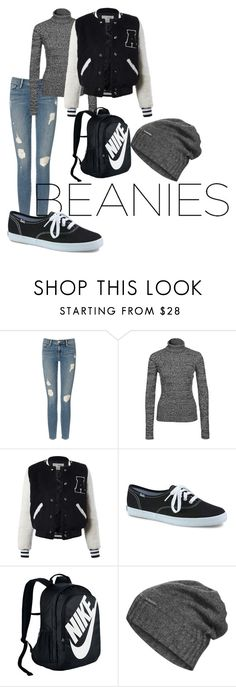 """""""Beanies"""" by kori-vavra on Polyvore featuring Frame Denim, NLY Trend, Sans Souci, Keds, NIKE and The North Face"""