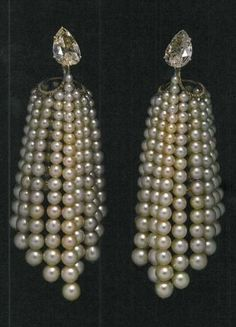 Diamond and pearl earrings by JAR, photo from the book JAR Paris Volume ll at The Met in New York.