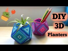 DIY Perler Bead Geometric Planters Simpler video for today! Perler Bead Designs, Easy Perler Bead Patterns, Melty Bead Patterns, Perler Bead Templates, Diy Perler Beads, Perler Bead Art, Beading Patterns, Loom Patterns, Diy Perler Bead Crafts