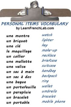 French vocabulary - Personal Items