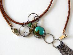 Boho Fringe Long Necklace 925 Sterling Silver Chain Fringe Statement Necklace Natural Gemstone Bohemian Jewelry Boho Layering Necklace by BeadIndulgences on Etsy