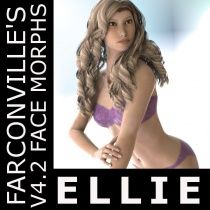 Ellie V4 -- $2.99 --  is a meticulously crafted face morph for Victoria 4.2.  V4.2 Base and V4.2 Legacy INJection Slots should be ticked or checked in the Powerloader: Import for DAZ Studio 4.5 to use this product - after this, apply INJ file to V4.2. This can be used also in Poser 7 and up - Load V4.2 Base and apply INJ file.
